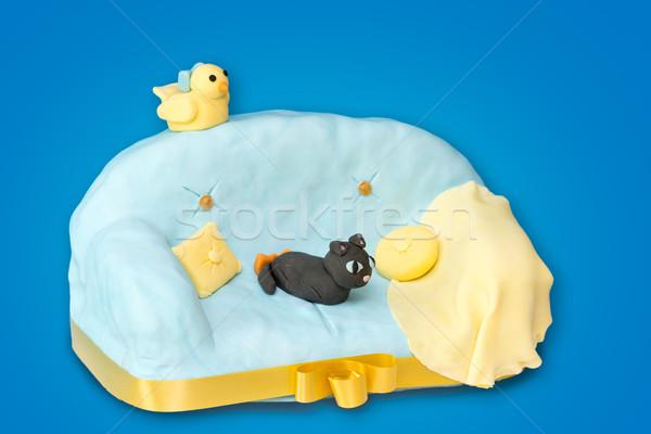 Ciasto sofa niebieski kot ptaków Zdjęcia stock © BigKnell