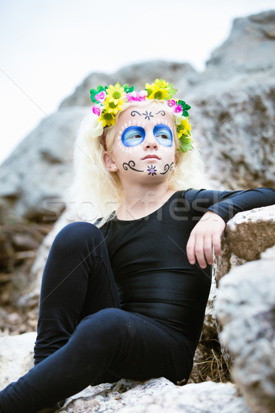 Cute girl with sugar skull makeup Stock photo © BigKnell