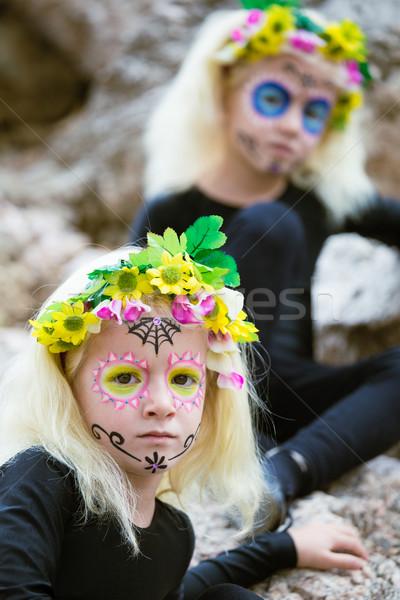 Halloween bliźniak dziewcząt odkryty portret bliźnięta Zdjęcia stock © BigKnell