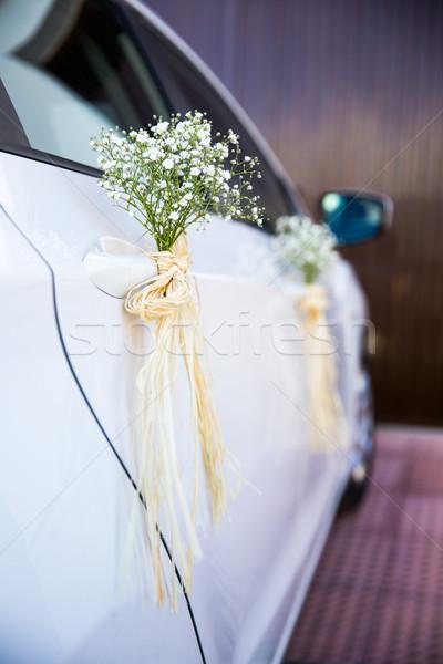 ślub samochodu dekoracji odznaczony kwiaty charakter Zdjęcia stock © BigKnell