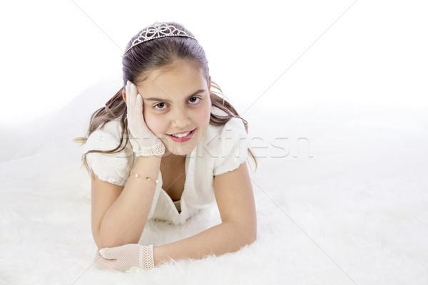 Fiatal lány elsőáldozás ünnepel első szent úrvacsora Stock fotó © BigKnell