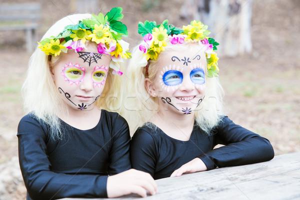Halloween bliźniak siostry uśmiechnięty dziewcząt czarny Zdjęcia stock © BigKnell