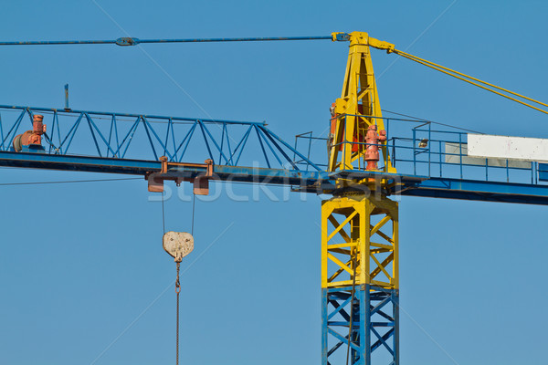 Foto stock: Grúa · detalles · industria · industrial · silueta