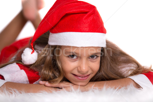 Cute girl with Santa outfit Stock photo © BigKnell