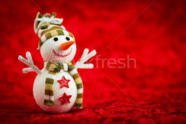 Wełny snowman czerwony tle zimą kolor Zdjęcia stock © BigKnell