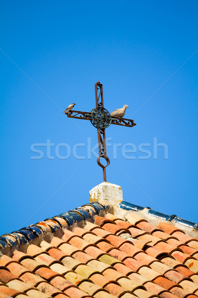 Oude roestige kruis dak ijzer twee Stockfoto © BigKnell