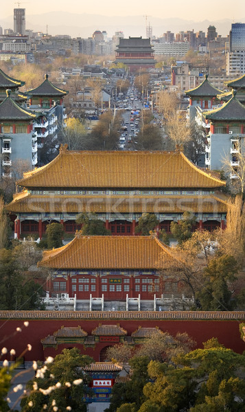 Jinshang Park Looking North at Drum Tower Beijing China  Vertica Stock photo © billperry