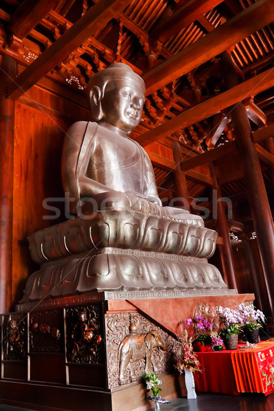 Silver Buddha in Wooden Hall Altar Jing An Temple Shanghai China Stock photo © billperry