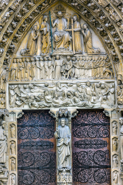 Biblical Statues Judgement Door Notre Dame Cathedral Paris Franc Stock photo © billperry