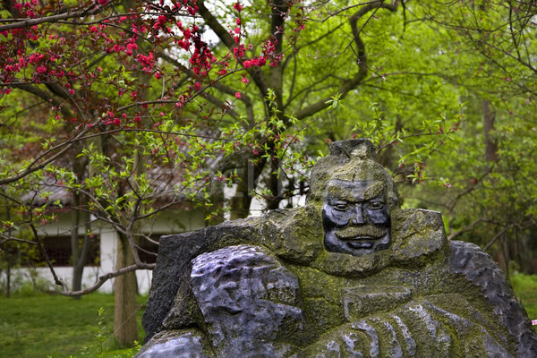 Old Zhang Fei Statue Peach Blossoms Wuhou Three Kingdoms Temple Stock photo © billperry