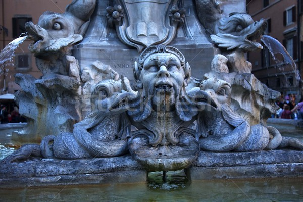 Della Porta Fountain Front of Pantheon Rome Italy Stock photo © billperry