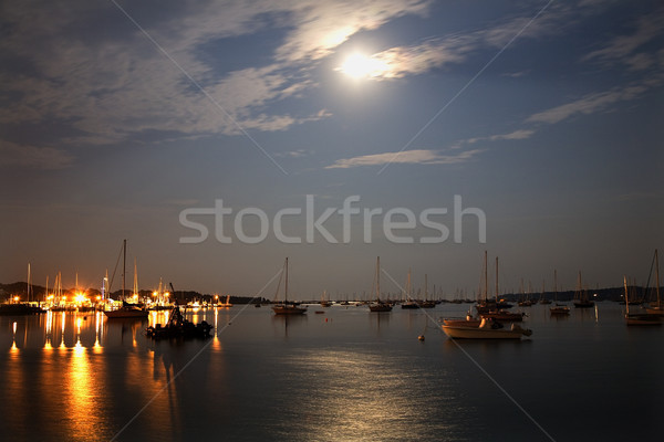 Porto barcos luzes lua Massachusetts navegação Foto stock © billperry