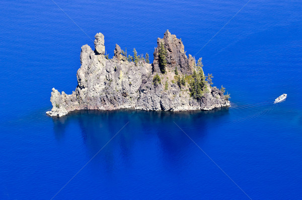 Phantom Ship Island Blue Crater Lake Reflection White Boat Orego Stock photo © billperry