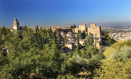 Alhambra Church Castle Towers Granada Andalusia Spain Stock photo © billperry
