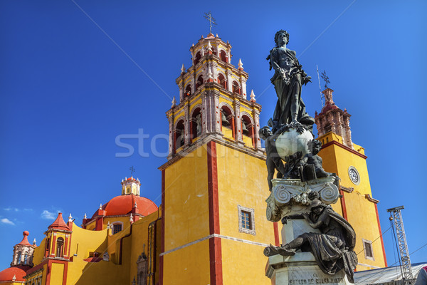 Stock photo: Paz Peace Statue Our Lady Basilica Night Guanajuato Mexico