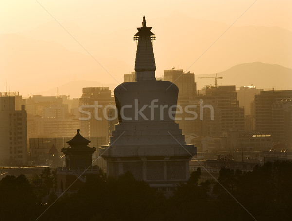 Beihai Stupa Pagoda Sunset Beijing China Stock photo © billperry
