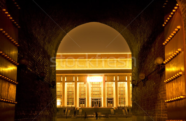 Mao Tomb from Qianmen Gate Tiananmen Square Beijing China Night Stock photo © billperry
