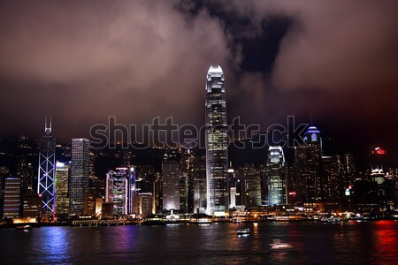 Hong Kong Harbor at Night Lightshow from Kowloon Stock photo © billperry