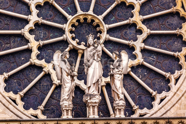 Mary Angels Facade Rose Window Notre Dame Cathedral Paris France Stock photo © billperry