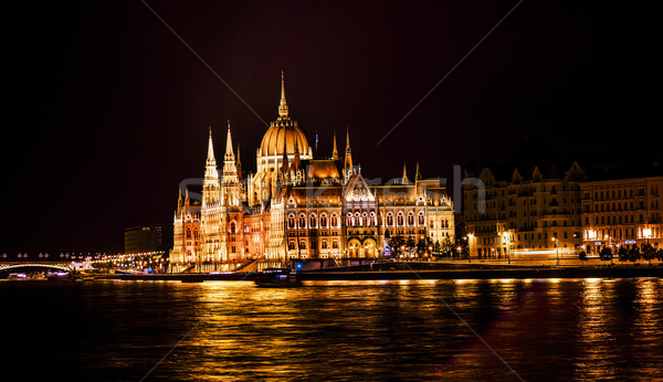 Parliament Building Boats Danube River Night Budapest Hungary Stock photo © billperry
