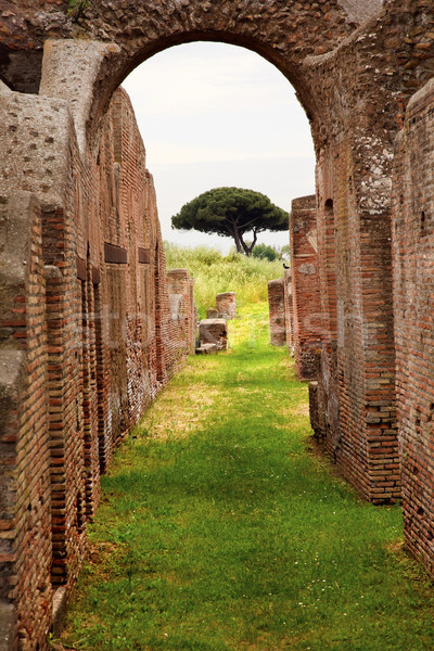 Ancient Roman Arch Walls Street Ostia Antica Rome Italy Stock photo © billperry
