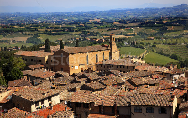 Stock photo: Old Tuscan Town Church Red Roofs San Gimignano Tuscany Italy