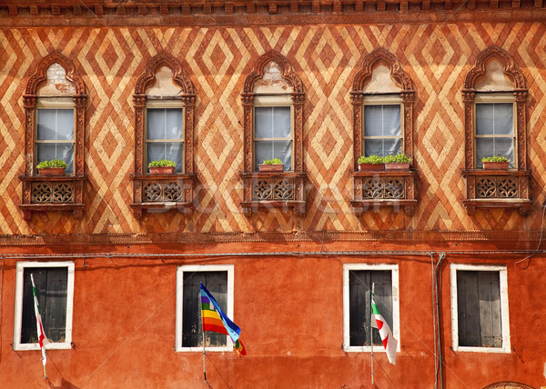 Wall Oriental Window Flags Decorations Venice Italy Stock photo © billperry