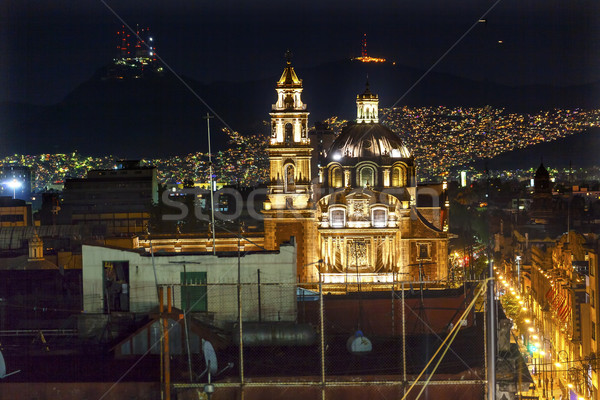 Mikulás Mexikóváros karácsony fények központ éjszaka Stock fotó © billperry