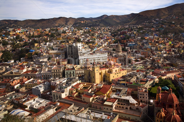Churches Colored Houses El Pipilia Overlook Guanajuato Mexico Stock photo © billperry