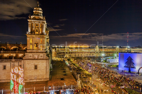 Metropolitan Cathedral Zocalo Mexico City Mexico Christmas Night Stock photo © billperry