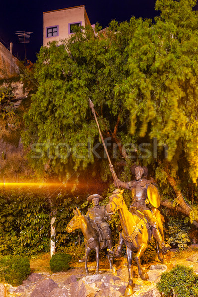 Don Quixote and Sancho Panza Statue Plaza Allende Light Shaft Gu Stock photo © billperry