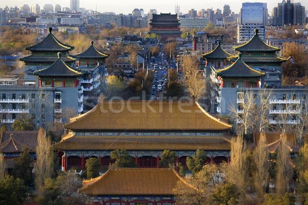 Parco guardando settentrionale tamburo torre Pechino Foto d'archivio © billperry