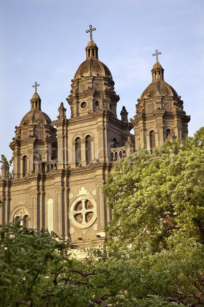 Templom katedrális homlokzat bazilika Peking zöld Stock fotó © billperry
