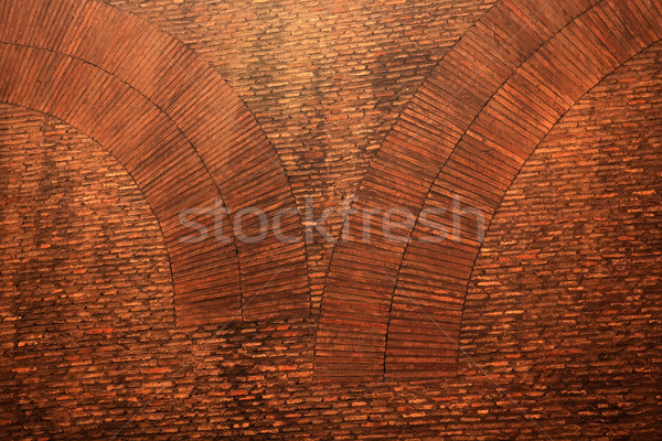 Pantheon Ancient Brick Wall Circles Close Up Rome Italy Stock photo © billperry