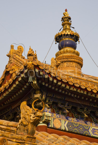 Roofs Figures Steeple Yonghe Gong Buddhist Temple Beijing China Stock photo © billperry