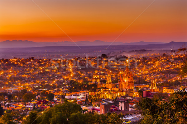 San Miguel de Allende Mexico Miramar Overlook Sunset Parroquia Stock photo © billperry
