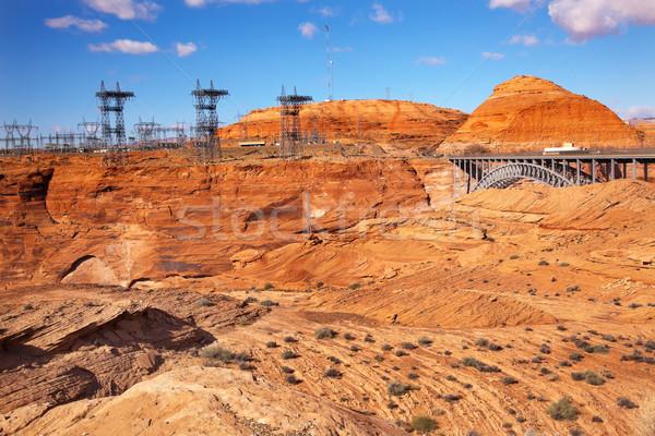 Glen Canyon Dam Electric Power Towers Lines Arizona Stock photo © billperry