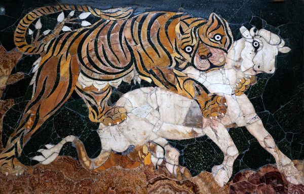 Stock photo: Ancient Roman Mosaic Tiger Hunting Capitoline Museum Rome Italy