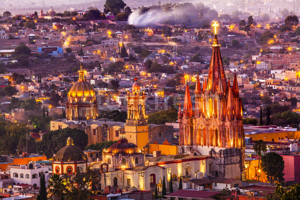 San Miguel de Allende Mexico Miramar Overlook Evening Parroquia Stock photo © billperry