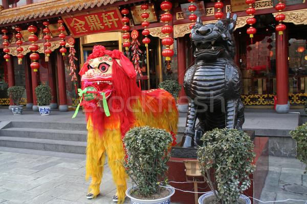 Chinese Lunar New Year Decorations Outside Restaurant Stock photo © billperry