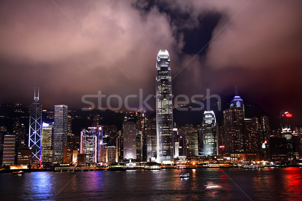 Hong Kong Harbor at Night from Kowloon Stock photo © billperry