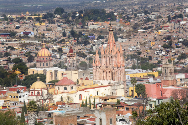 San Miguel de Allende Mexico Overlook Parroquia Archangel Church Stock photo © billperry