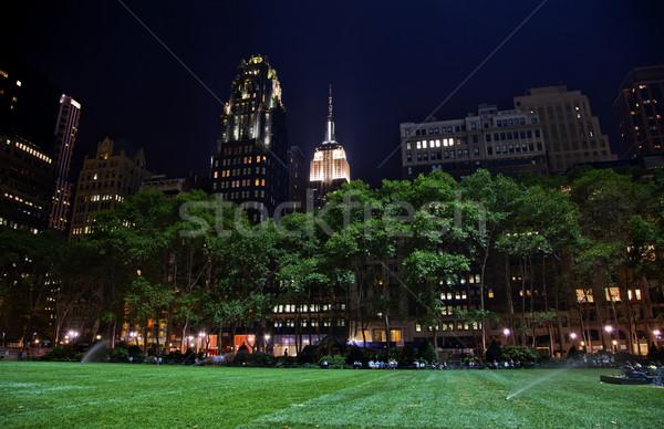 Park New York ufuk çizgisi gece yeşil ot daire Stok fotoğraf © billperry