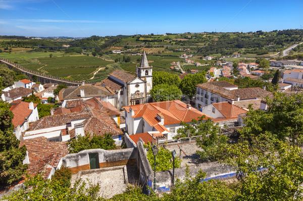 Santa Maria Church Castle Walls Countrside Obidos Portugal Stock photo © billperry