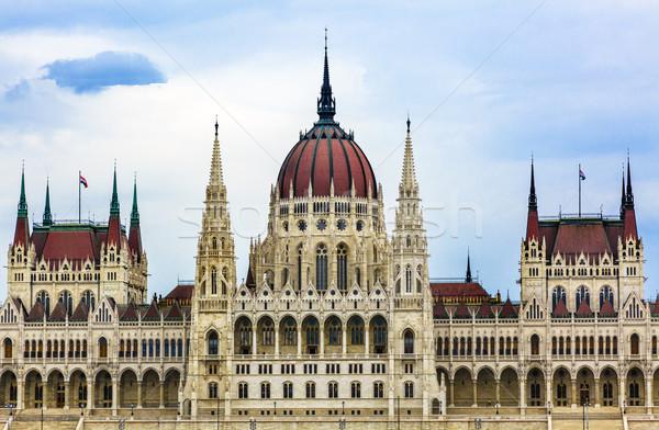 Parlament épület hajók Budapest Magyarország utazás Stock fotó © billperry