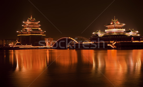 Stock photo: Ancient Temple Night Reflection Bridge Jinming Lake Kaifeng Chin