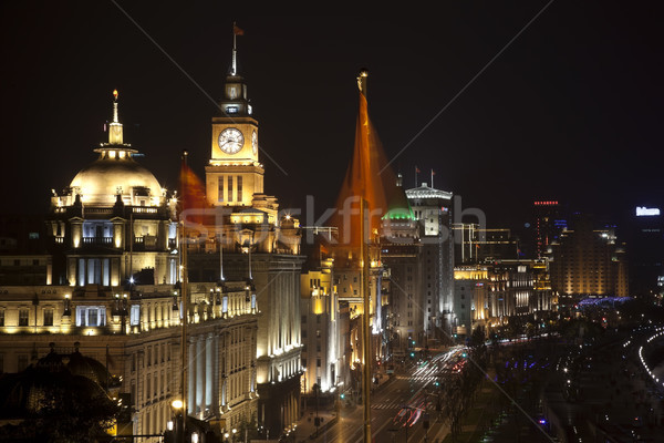 Stock photo: Shanghai Bund at Night China Flags Cars