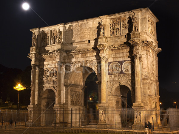 Constantine Arch Night Moon Rome Italy Stock photo © billperry