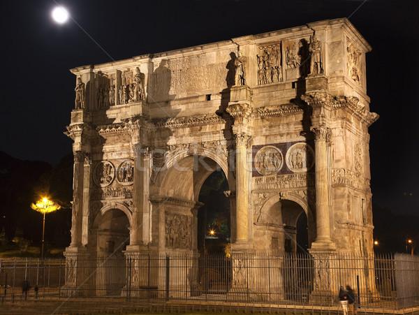 Foto d'archivio: Arch · notte · luna · Roma · Italia · pietra