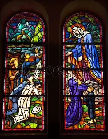 Moses Stained Glass Angel Statue Cathedral of Saint Mary of the  Stock photo © billperry